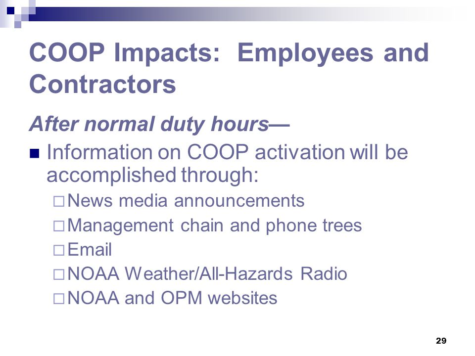 COOP Impacts: Employees and Contractors