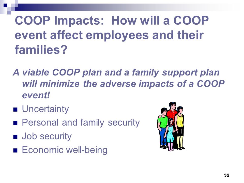 COOP Impacts: How will a COOP event affect employees and their families
