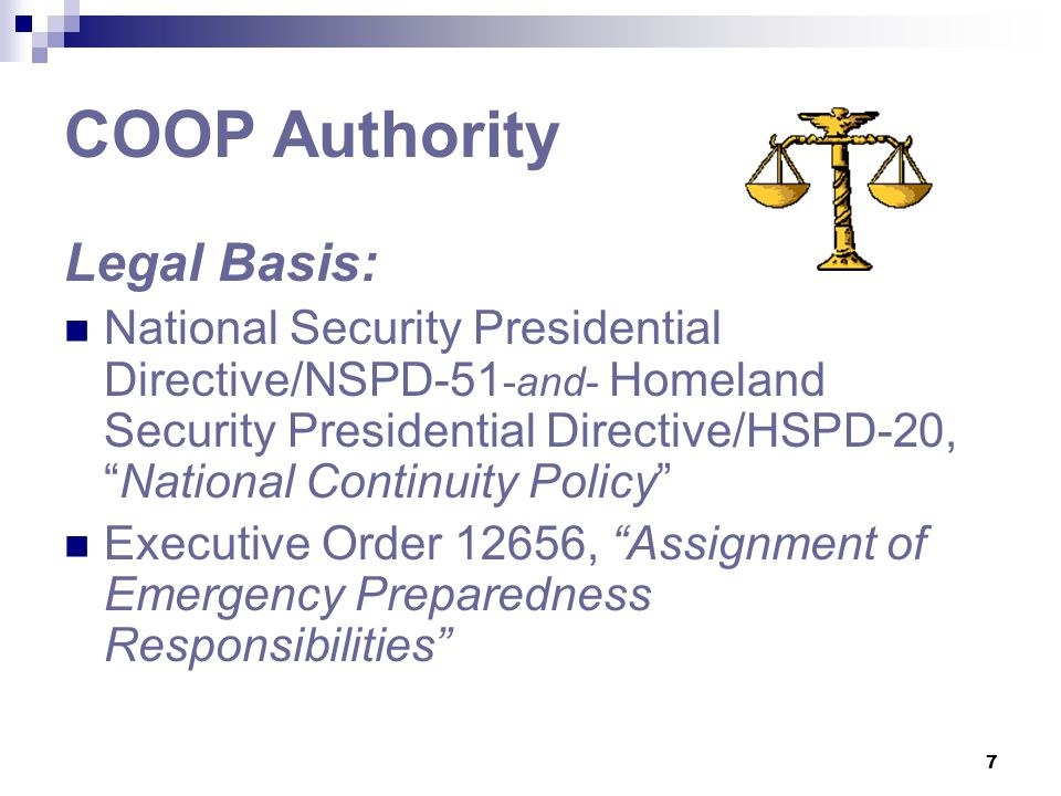COOP Authority Legal Basis: