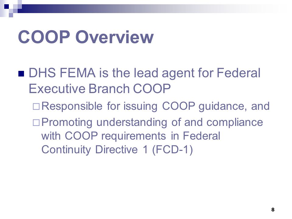 COOP Overview DHS FEMA is the lead agent for Federal Executive Branch COOP. Responsible for issuing COOP guidance, and.