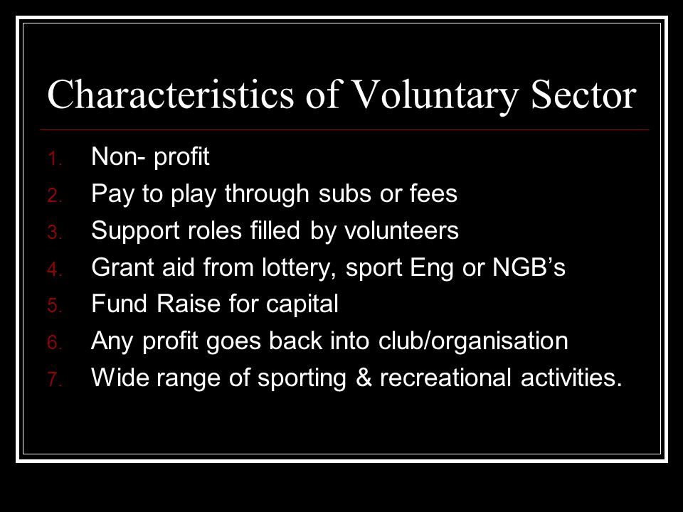 Characteristics of Voluntary Sector