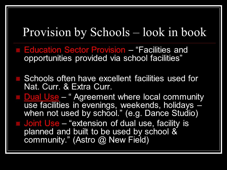 Provision by Schools – look in book