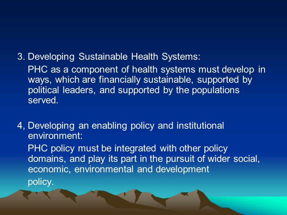 3. Developing Sustainable Health Systems: