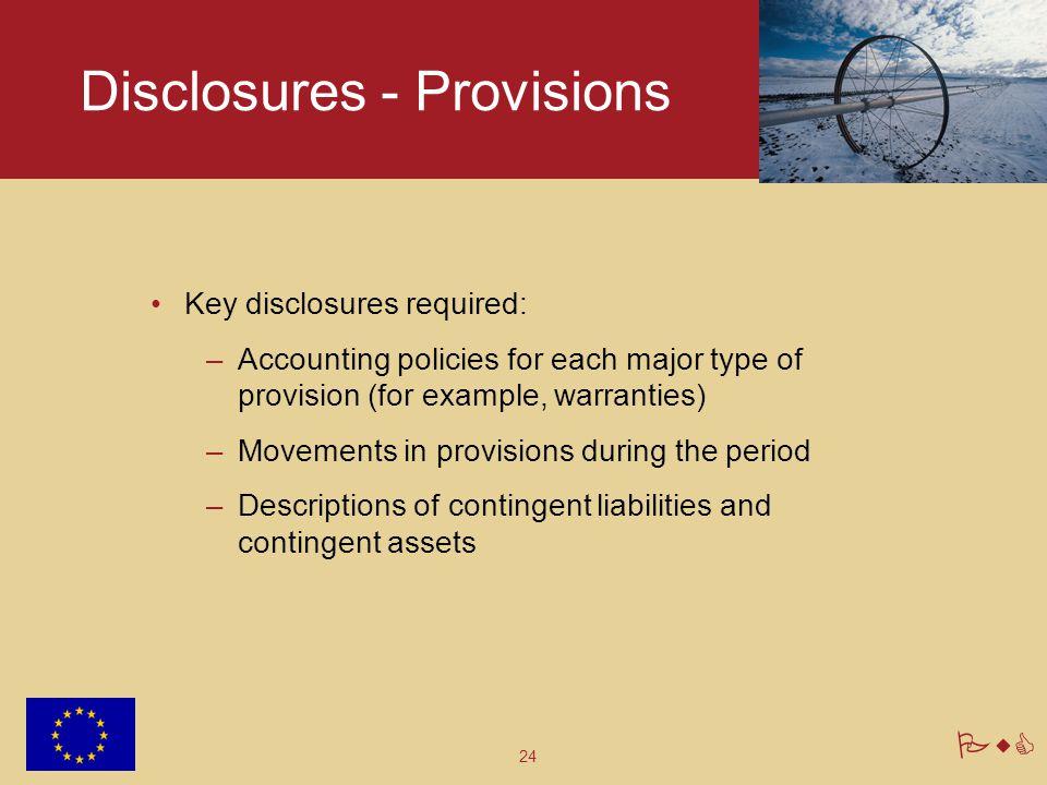 Disclosures - Provisions