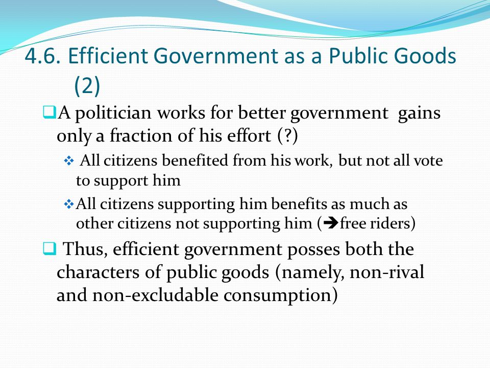 4.6. Efficient Government as a Public Goods (2)