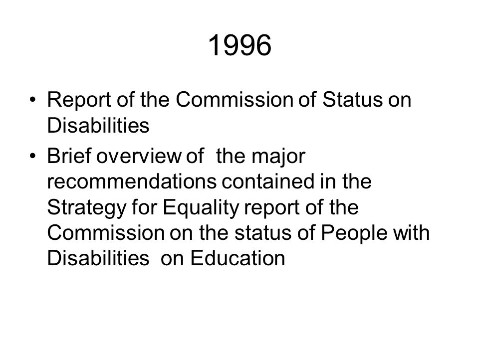 1996 Report of the Commission of Status on Disabilities
