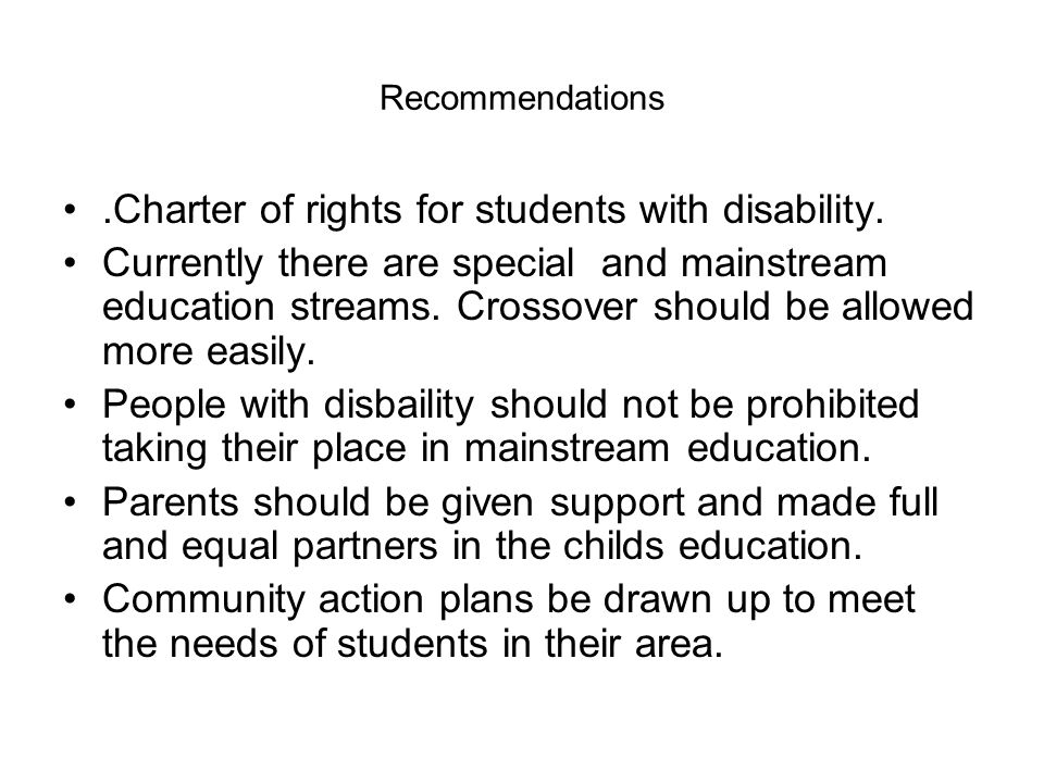 .Charter of rights for students with disability.