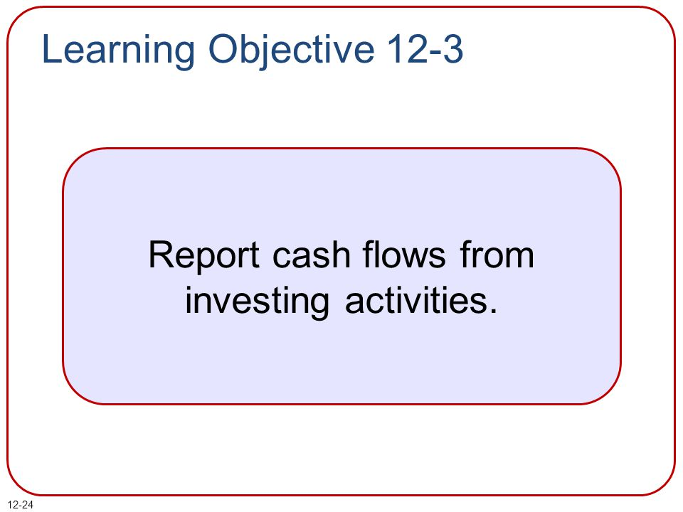 Report cash flows from investing activities.