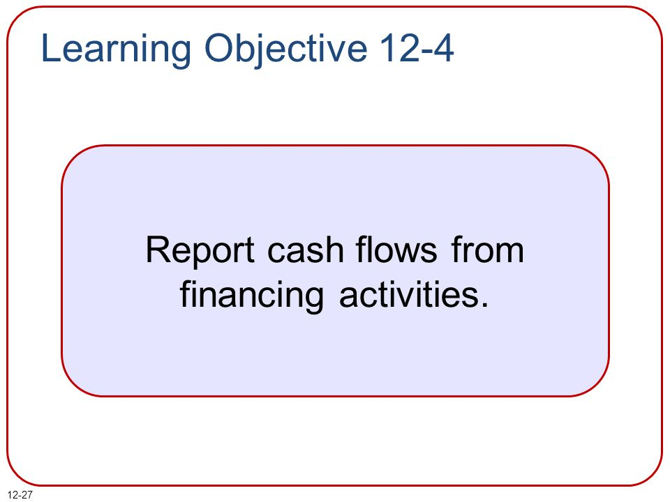 Report cash flows from financing activities.