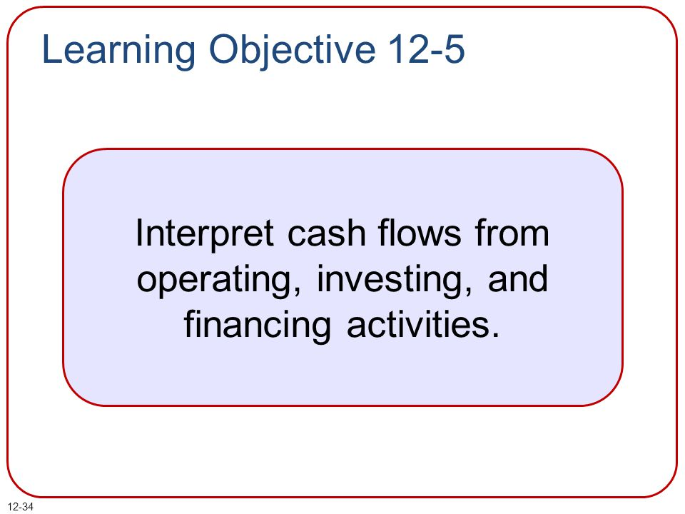 Learning Objective 12-5 Interpret cash flows from operating, investing, and financing activities.