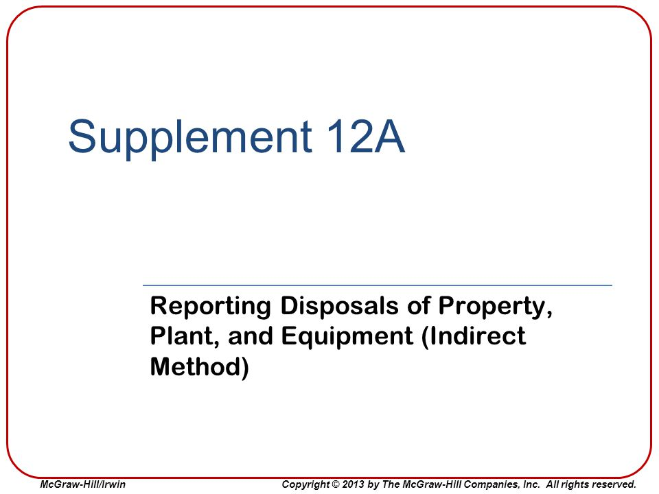 Supplement 12A Reporting Disposals of Property, Plant, and Equipment (Indirect Method)