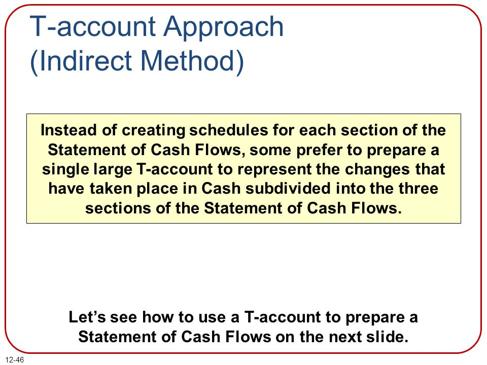 T-account Approach (Indirect Method)