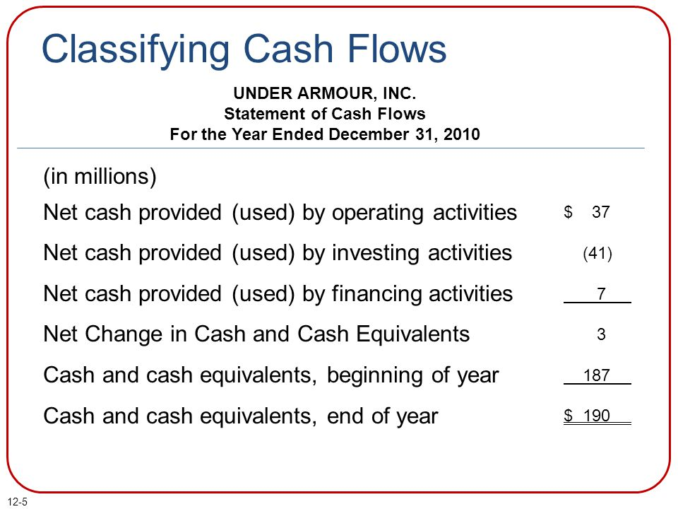 Statement of Cash Flows For the Year Ended December 31, 2010