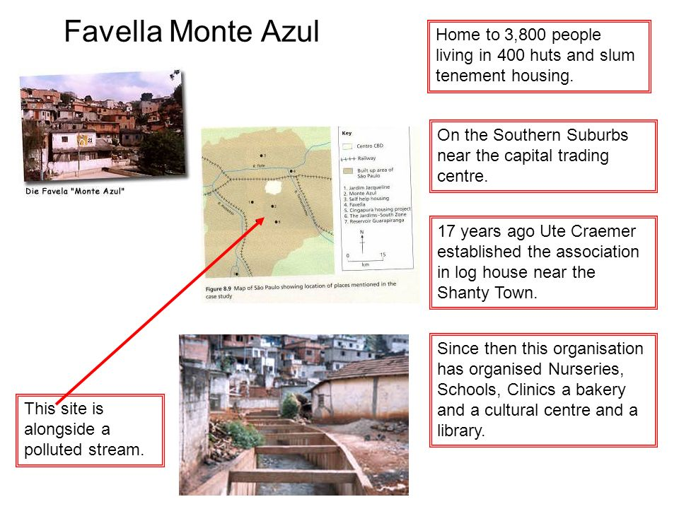 Favella Monte Azul Home to 3,800 people living in 400 huts and slum tenement housing. On the Southern Suburbs near the capital trading centre.