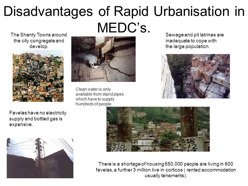 Disadvantages of Rapid Urbanisation in MEDC's.