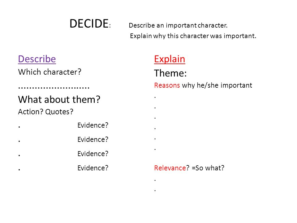 DECIDE:. Describe an important character