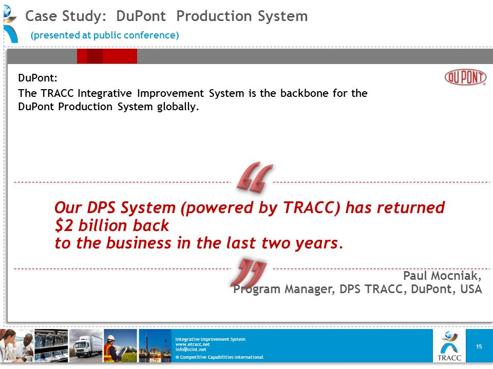 Case Study: DuPont Production System (presented at public conference)