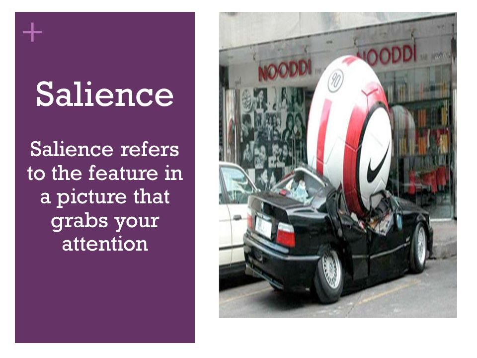 Salience refers to the feature in a picture that grabs your attention