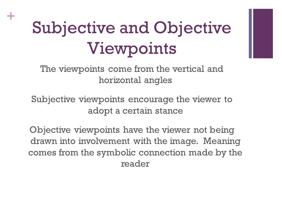 Subjective and Objective Viewpoints