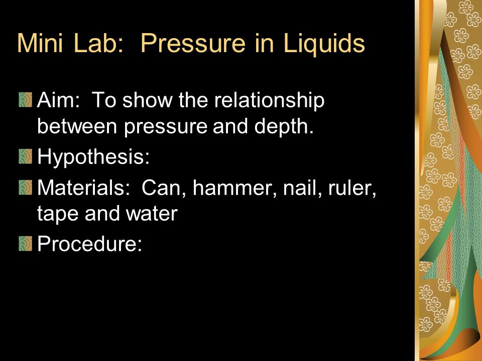 Mini Lab: Pressure in Liquids