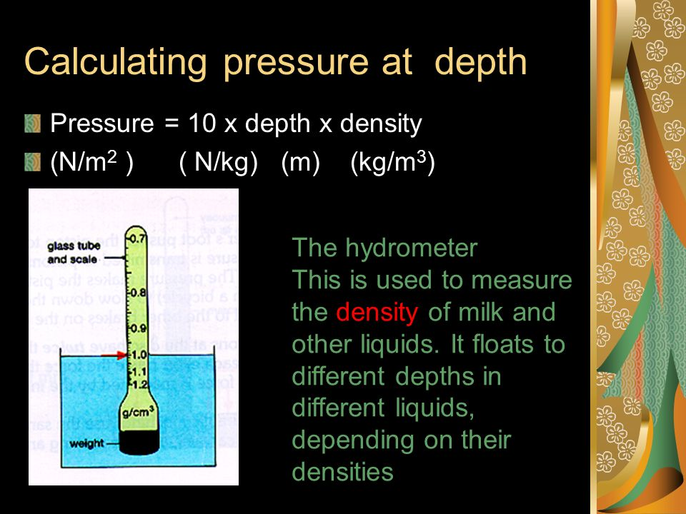 Calculating pressure at depth