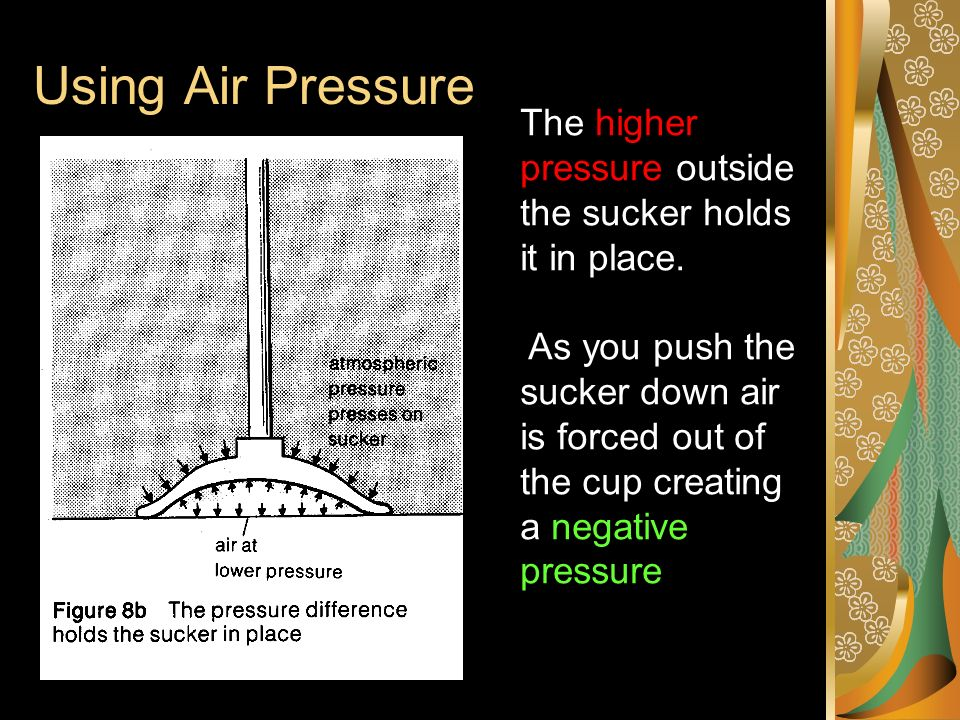 Using Air Pressure The higher pressure outside the sucker holds it in place.
