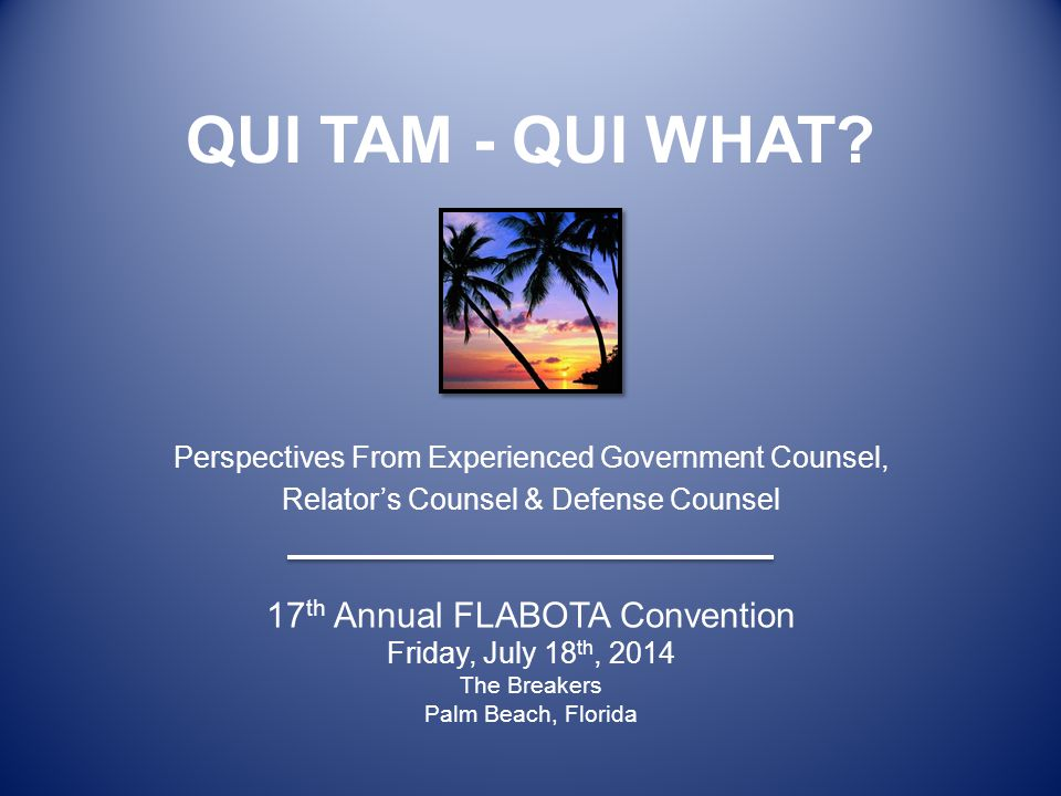 QUI TAM - QUI WHAT Perspectives From Experienced Government Counsel, Relator's Counsel & Defense Counsel.