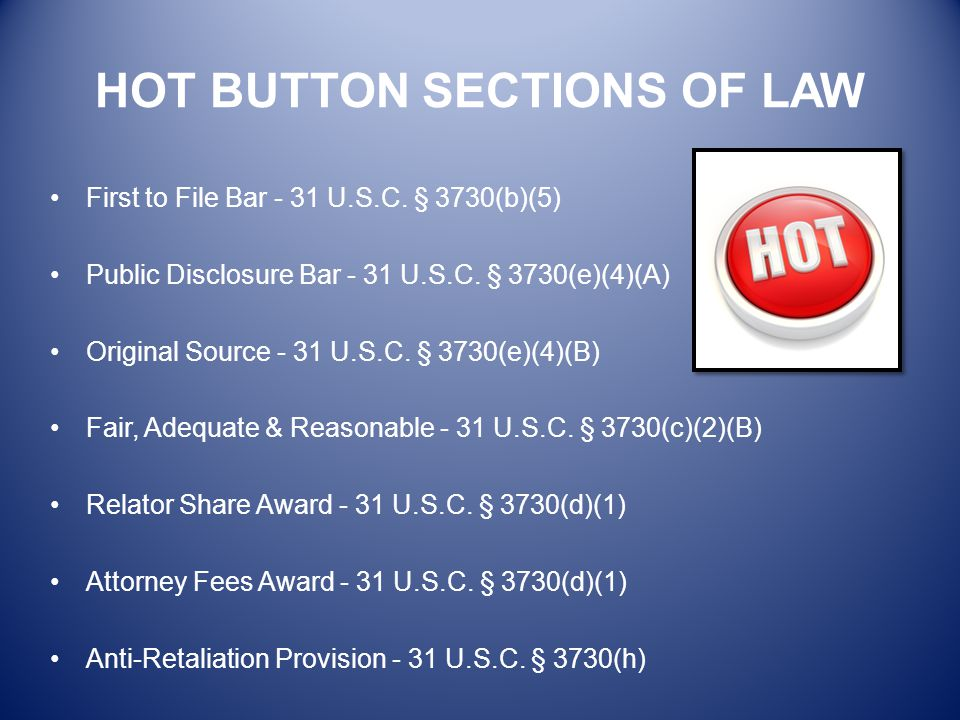 HOT BUTTON SECTIONS OF LAW