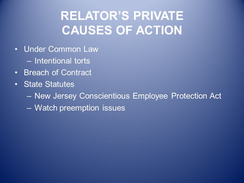 RELATOR'S PRIVATE CAUSES OF ACTION