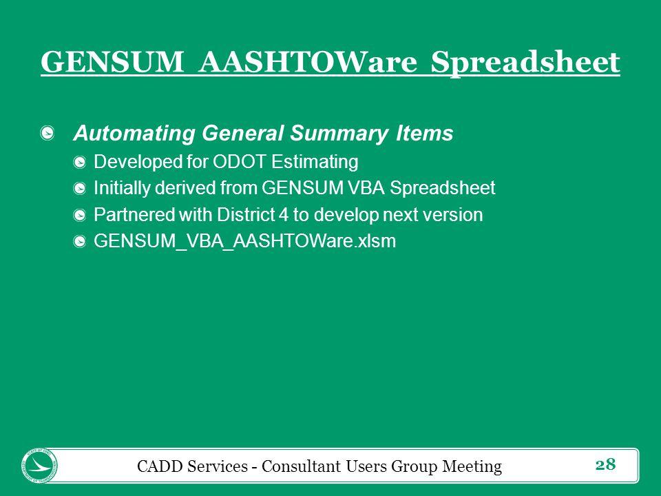 GENSUM AASHTOWare Spreadsheet