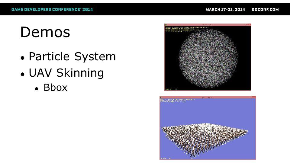 Demos Particle System UAV Skinning Bbox