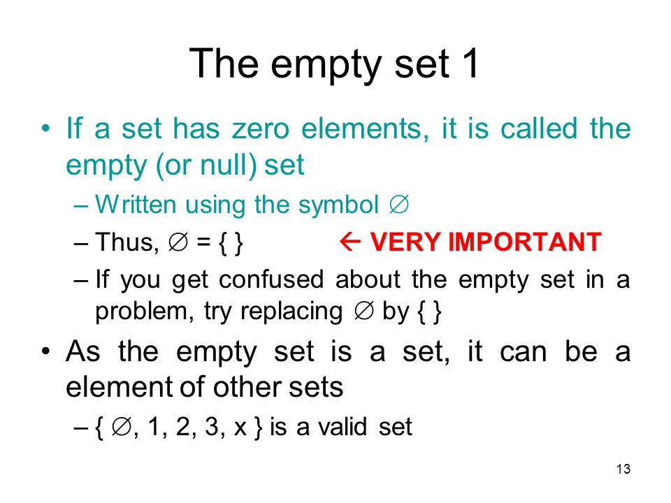 The empty set 1 If a set has zero elements, it is called the empty (or null) set. Written using the symbol 