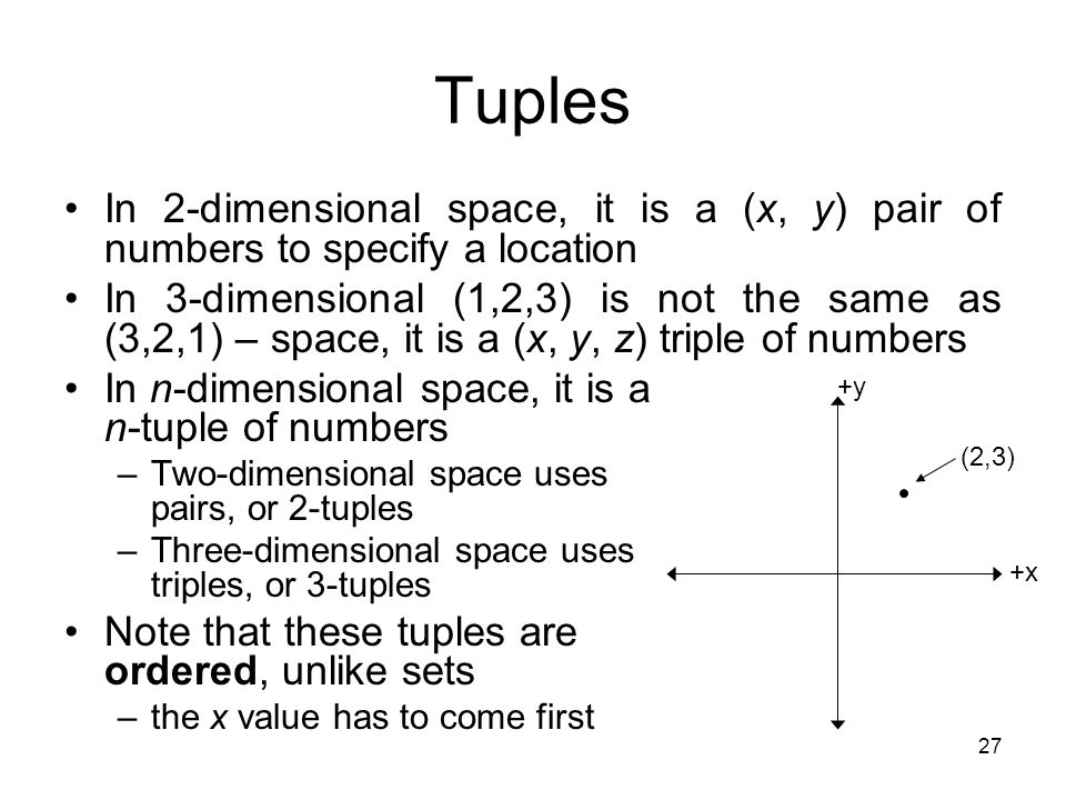 Tuples In 2-dimensional space, it is a (x, y) pair of numbers to specify a location.