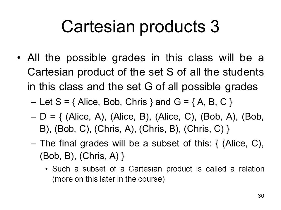 Cartesian products 3