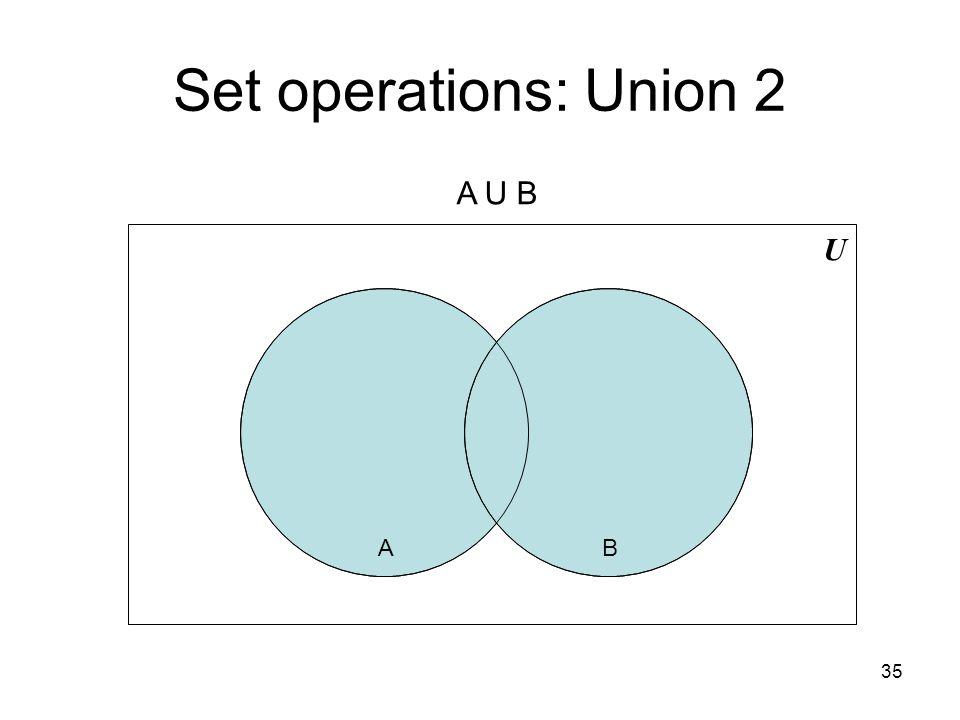 Set operations: Union 2 A U B U A B