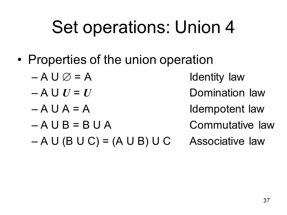 Set operations: Union 4 Properties of the union operation
