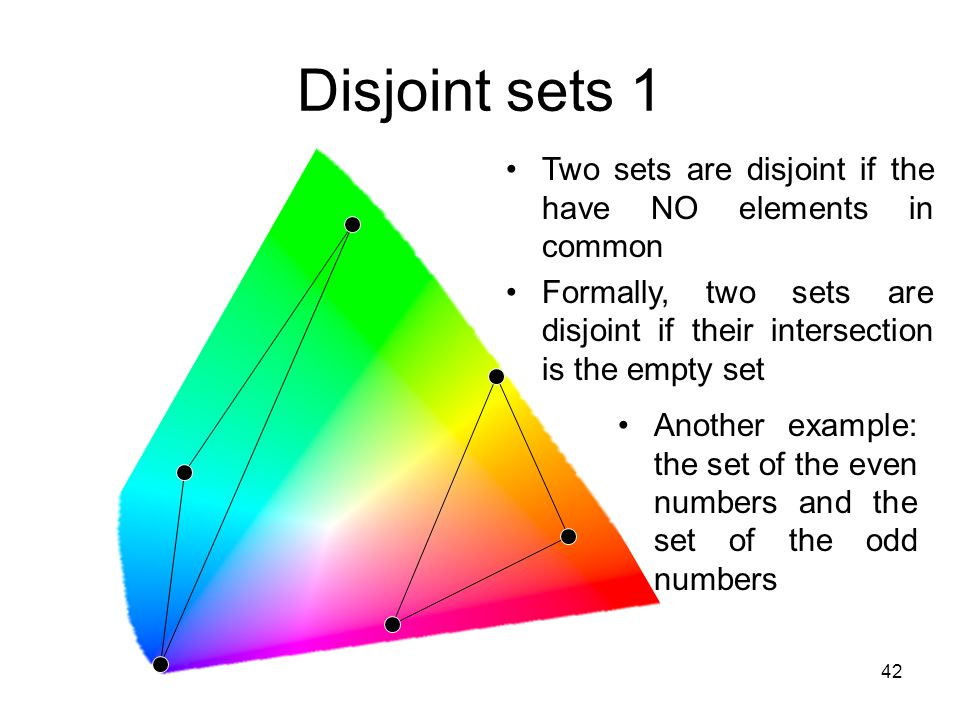 Disjoint sets 1 Two sets are disjoint if the have NO elements in common. Formally, two sets are disjoint if their intersection is the empty set.