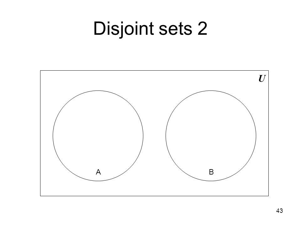 Disjoint sets 2 U A B