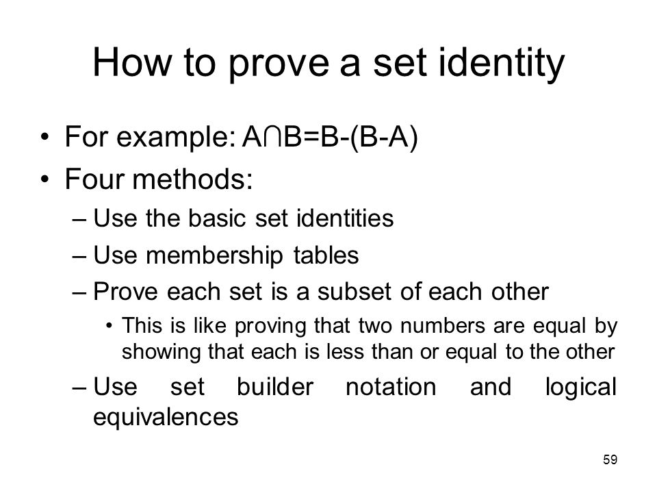 How to prove a set identity