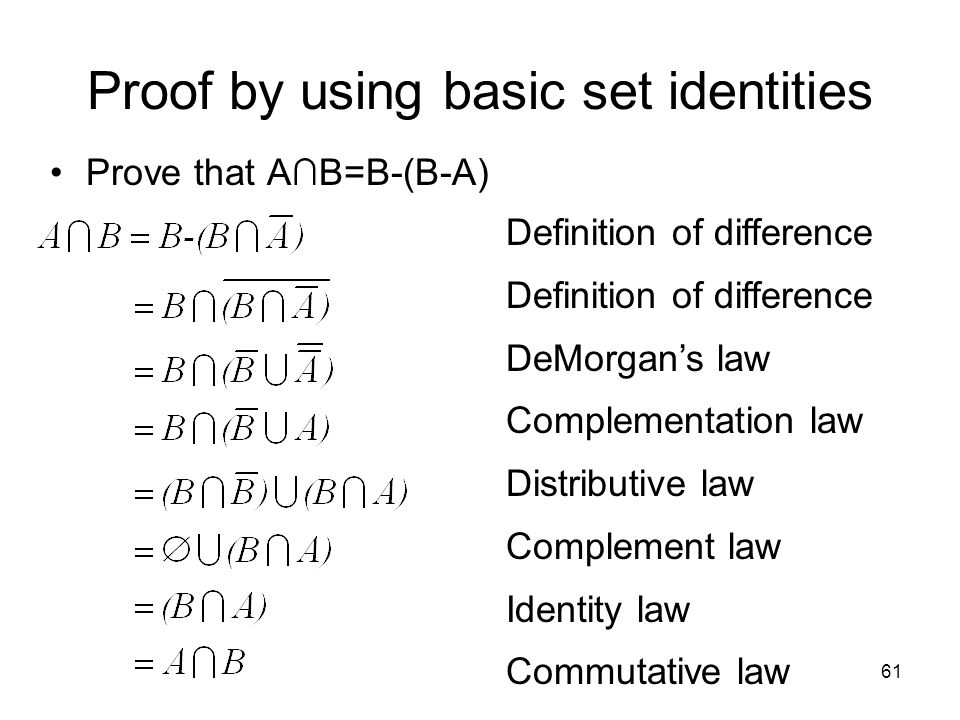 Proof by using basic set identities
