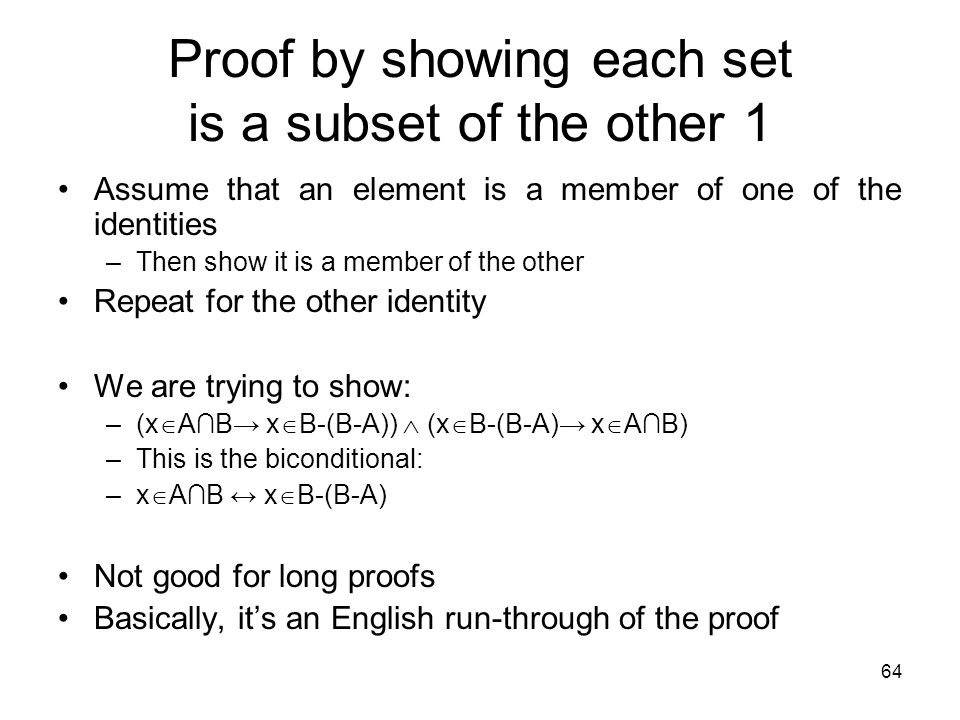 Proof by showing each set is a subset of the other 1