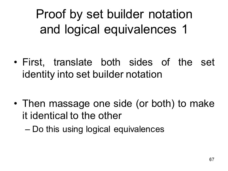 Proof by set builder notation and logical equivalences 1