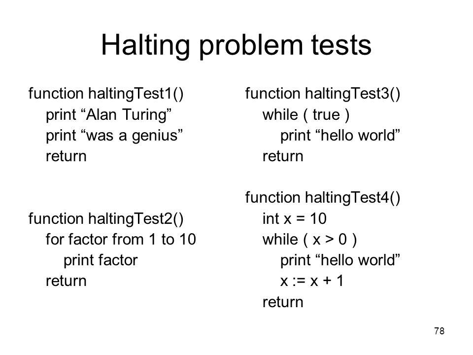 Halting problem tests function haltingTest1() print Alan Turing