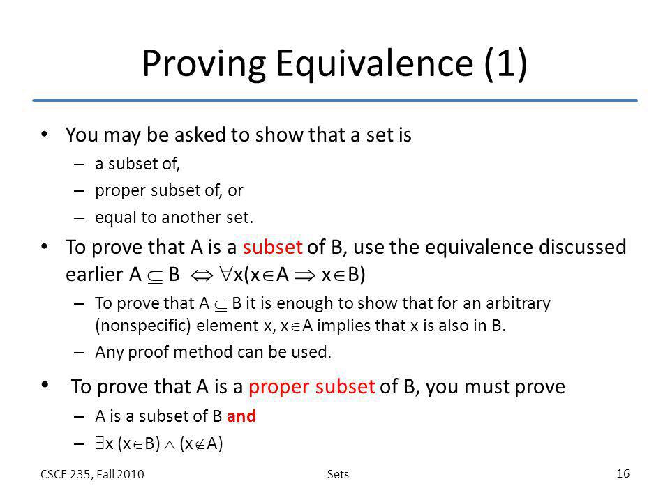 Proving Equivalence (1)