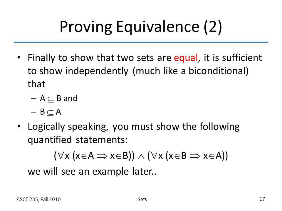 Proving Equivalence (2)