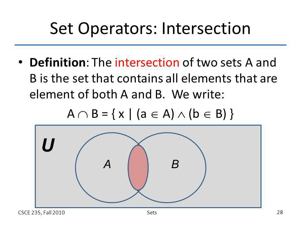 Set Operators: Intersection