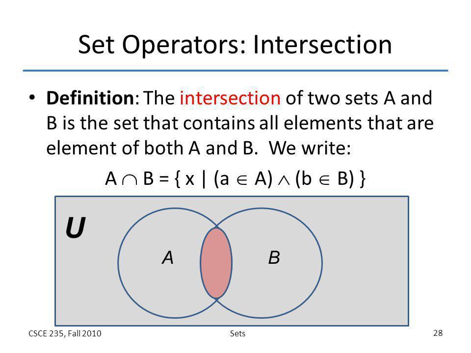 Set Operators: Intersection