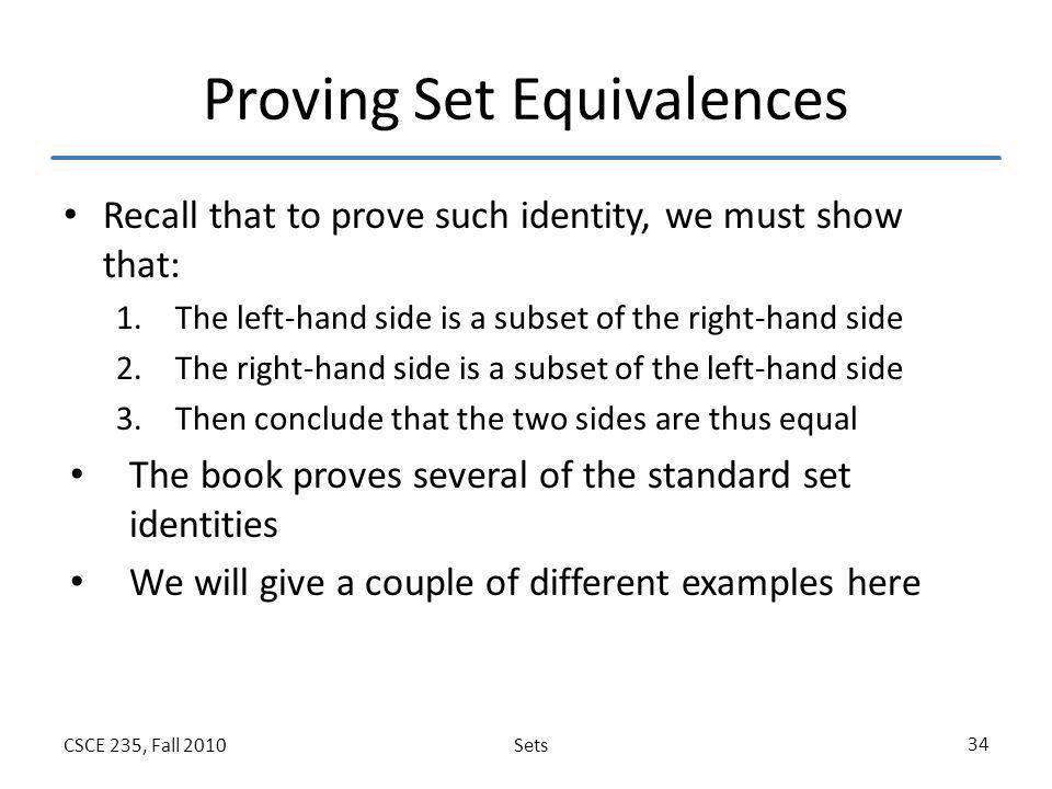 Proving Set Equivalences
