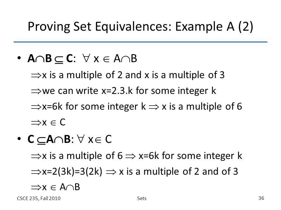 Proving Set Equivalences: Example A (2)