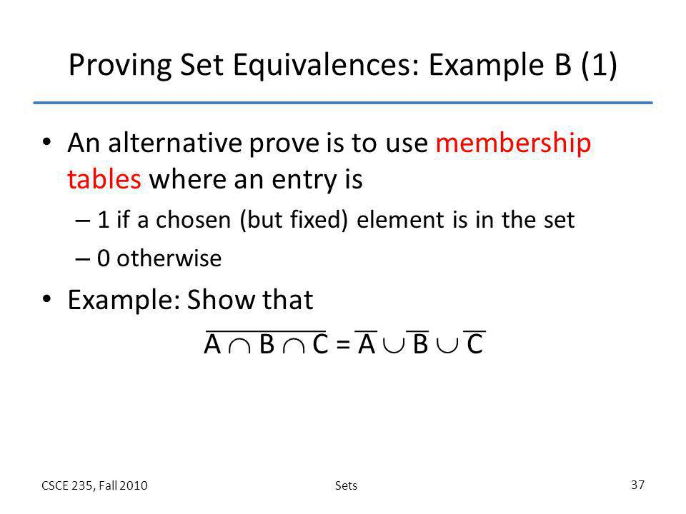 Proving Set Equivalences: Example B (1)